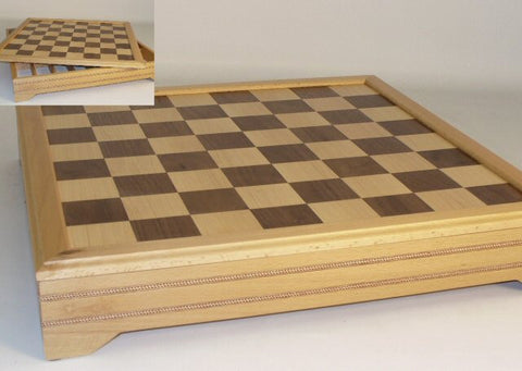 "18"" Inlaid Beechwood/Maple Chess Board with Chest - Peazz.com"