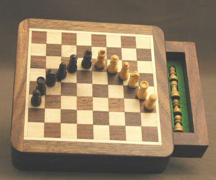 "Sheesham Wood Square Magnetic Chess Set w/ Drawer, 5"" x 5"" Chess Board with 3/4"" King - Peazz.com"