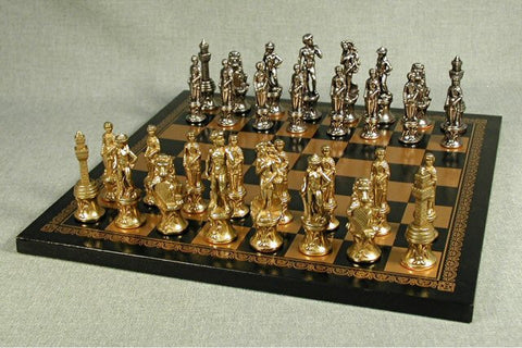 "Florence Metal Men with 3 1/4"" King on Pressed Leather 13"" Chess Board - Peazz.com"