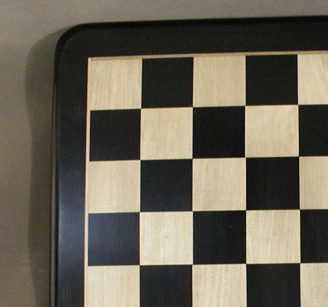 """21"""" Ebony and Maple Chess Board with Frame, Rounded Edges, 2 1/5"""" Squares, 1"""" Thick, Matte Finish"""