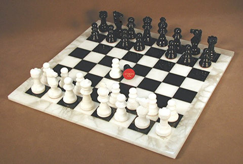 "14.5"" Alabaster Chess Set, Black & White Squares, White Frame, 3"" King - Peazz.com"