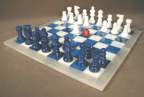 "Alabaster Chess Set with 14.5"" Blue/White Chess Board, White Frame, 3"" King - Peazz.com"