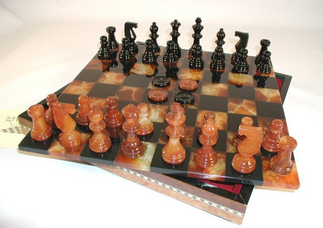 "13 1/2"" Alabaster Checkers & Chess Set In Inlaid Wood Chest; Black & Brown, 3"" King"