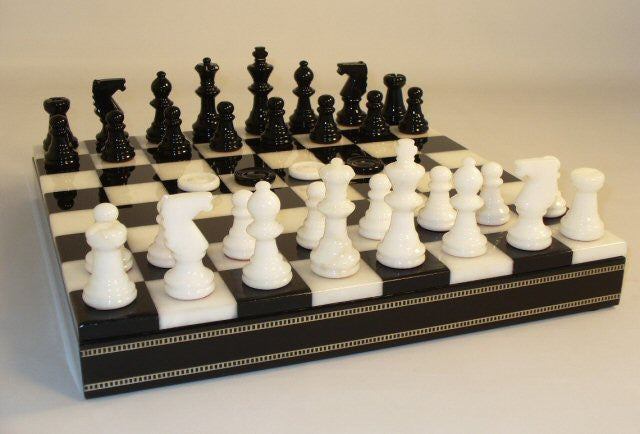 "13 1/2"" Alabaster Checkers & Chess Set In Inlaid Wood Chest; Black & White, 3"" King"