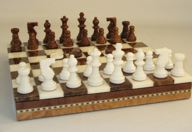 "13 1/2"" Alabaster Checkers & Chess Set In Inlaid Wood Chest; Brown & White, 3"" King"
