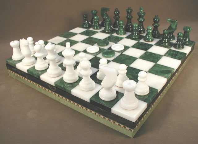 "13 1/2"" Alabaster Checkers & Chess Set In Inlaid Wood Chest; Green & White, 3"" King"