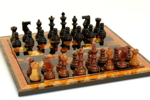 "15"" Alabaster Chess Set, Inlaid Wood Frame, Black & Brown, 3"" King - Peazz.com"
