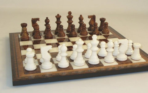 "15"" Alabaster Chess Set, Inlaid Wood Frame, Brown & White 3"" King - Peazz.com"
