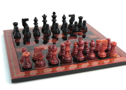 "15"" Alabaster Chess Set, Inlaid Wood Frame, Red & Black, 3"" King - Peazz.com"