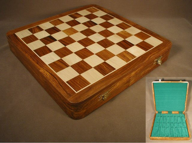 "17 1/2"" Sheesham & Boxwood Chess Board with Chest"