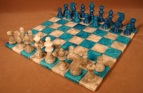 "14"" Alabaster Chess Set, Blue/Grey Chess Board, 3"" King - Peazz.com"