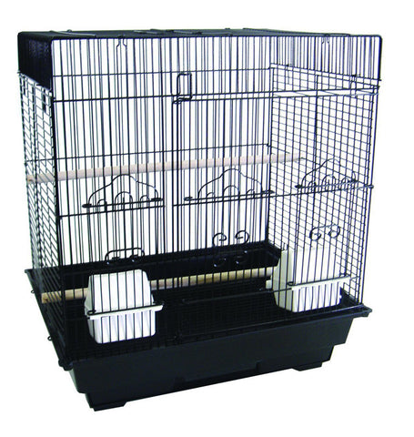 "YML Group 5824BLK 5824 3/8"" Bar Spacing SquareTop Small Bird Cage - 18""x14"" In Black - Peazz.com"