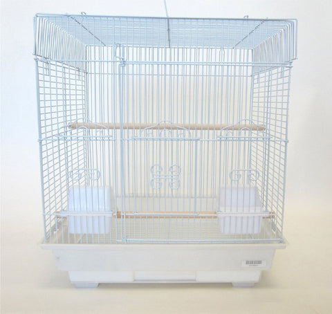 "YML Group 5824WHT 5824 3/8"" Bar Spacing SquareTop Small Bird Cage - 18""x14"" In White - Peazz.com"