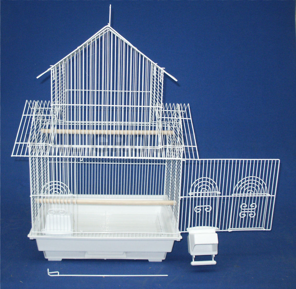 """YML Group 5844WHT 5844 3/8"""" Bar Spacing Pagoda Small Bird Cage - 18""""x14"""" In White YML-5844WHT"""