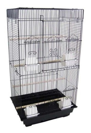 "YML Group 6824BLK 6824 3/8"" Bar Spacing Tall SquareTop Small Bird Cage - 18""x14"" In Black - Peazz.com"