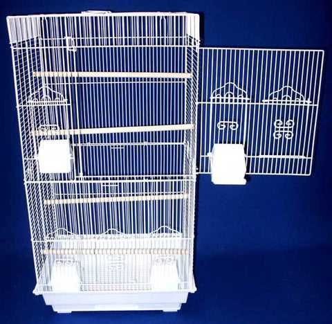 "YML Group 6824WHT 6824 3/8"" Bar Spacing Tall SquareTop Small Bird Cage - 18""x14"" In White - Peazz.com"