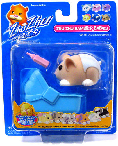 Zhu Zhu Pets Hamster Babies Peanut Light Brown Baby With Blue Diaper