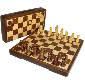 12-Inch Inlaid Walnut/Maple Folding Magnetic Chess Set - Peazz.com