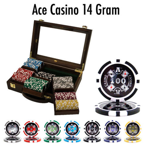 Brybelly PSC-0104W 300 Ct Pre-Packaged Ace Casino 14 Gram Chips - Walnut - Peazz.com