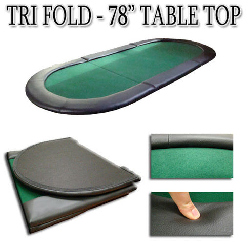 "Brybelly TAB-0005 Green 78""x35"" Tri-Fold Poker Table Top - Peazz.com"