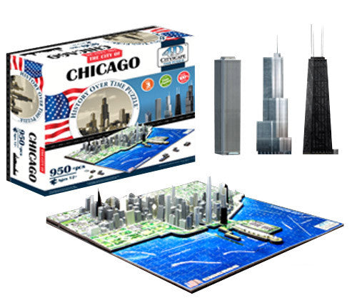 4d Cityscape Tcys-03 4d Chicago Skyline Time Puzzle