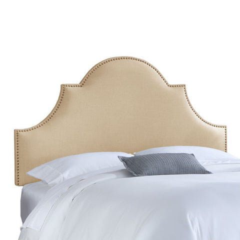 Skyline Furniture 821NB-BRLNNSND Full Nail Button High Arch Notched Headboard in Linen Sandstone - Peazz.com