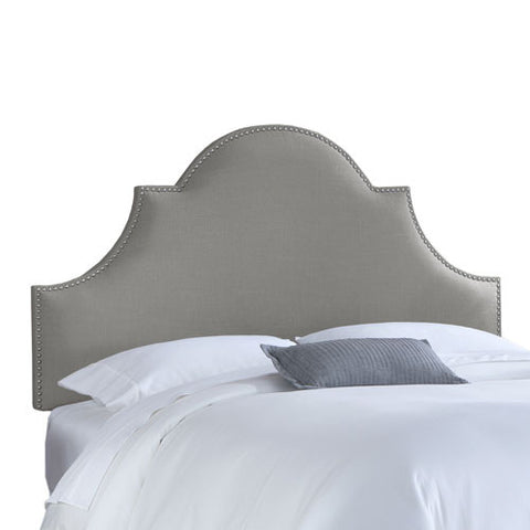 Skyline Furniture 821NB-PWLNNGR Full Nail Button High Arch Notched Headboard in Linen Grey - Peazz.com