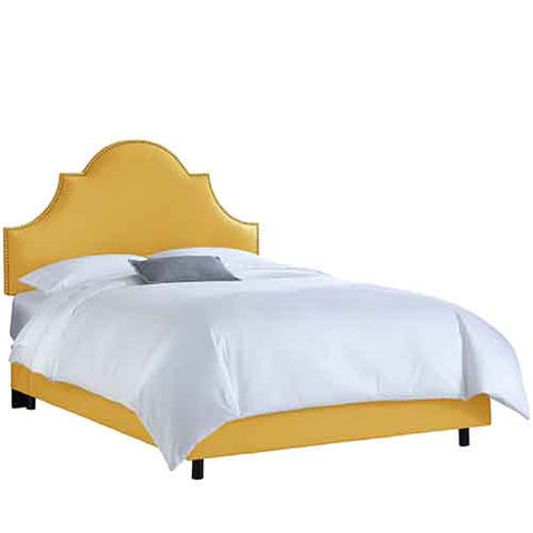 Skyline Furniture 822NBBED-BRLNNFRNYLL Queen Nail Button High Arch Notched Bed in Linen French Yellow - Peazz.com