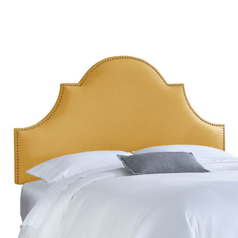 Skyline Furniture 824NB-BRLNNFRNYLL California King Nail Button High Arch Notched Headboard in Linen French Yellow - Peazz.com