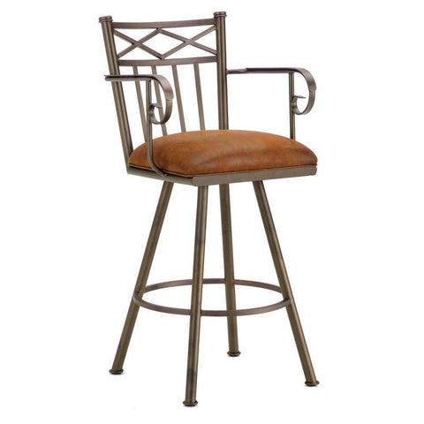 "Iron Mountain 1104330 Alexander Bar Stool W/Arms 30"" Seat Height w/ Mayflower Cocoa Fabric - Inca/Bronze - BarstoolDirect.com"