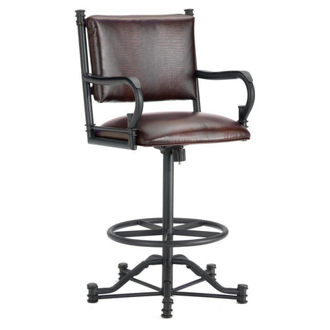 "Iron Mountain 1305126 Baltimore Tilt Swivel Counter Stool 26"" Seat Height w/ Alligator Brown Seat Fabric - Black Finish - BarstoolDirect.com"