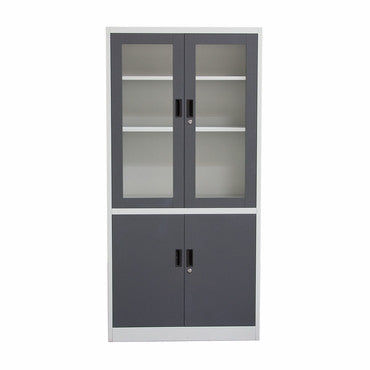 Diamond Sofa FCH2DG 4-Door 5-Shelf Bookcase With Tempered Glass Door Front & Key Lock Entry - Peazz.com
