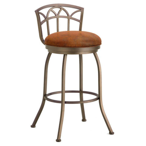 "Iron Mountain 2003330 Fiesole Low Back Bar Stool 30"" Seat Height w/ Mayflower Cocoa Fabric - Inca/Bronze - BarstoolDirect.com"