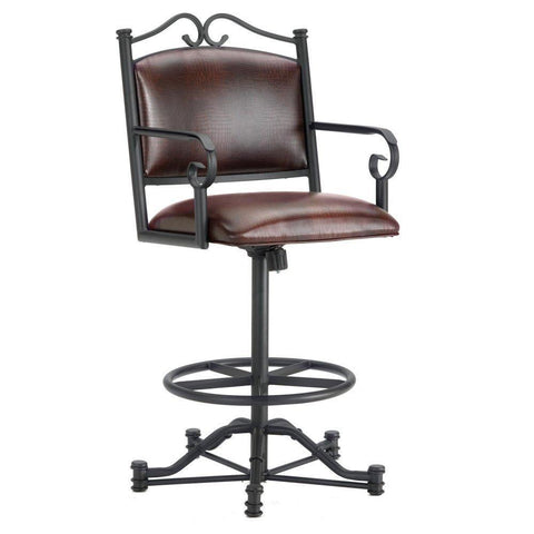 "Iron Mountain 3205126 Sherwood Tilt Swivel Counter Stool 26"" Seat Height w/ Alligator Brown Seat Fabric - Black Finish - BarstoolDirect.com"