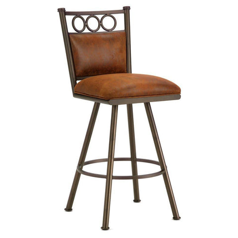"Iron Mountain 3603330 Waterson Swivel Bar Stool 30"" Seat Height w/ Mayflower Cocoa Fabric - Inca/Bronze - BarstoolDirect.com"