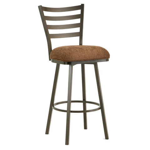 "Iron Mountain 5403426 Tioga Swivel CounterStool 26"" Seat Height w/ Ford Brown Fabric - Rust - BarstoolDirect.com"