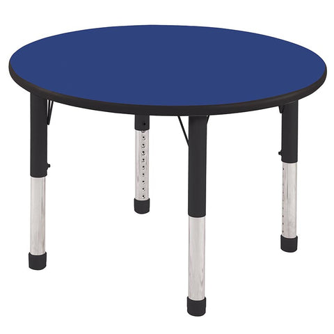 "ECR4Kids ELR-14114-BLBK-C 36"" Round Table Blue/Black-Chunky - Peazz.com"