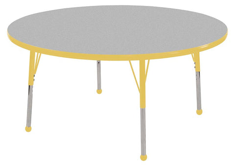 "ECR4Kids ELR-14114-GYE-SB 36"" Round Table Grey/Yellow-Standard Ball - Peazz.com"