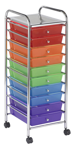 ECR4Kids ELR-009-AS 10 Drawer Mobile Organizer - Assorted - Peazz.com