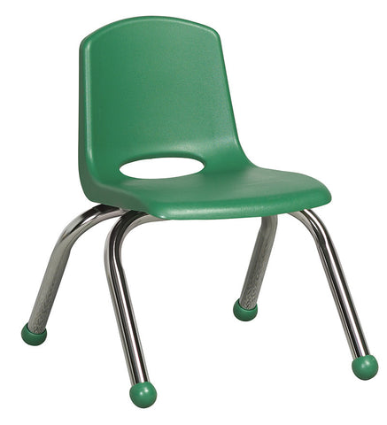 "ECR4Kids ELR-0192-GN 10"" Stack Chair - Chrome Legs - GN - Set of 6 - Peazz.com"