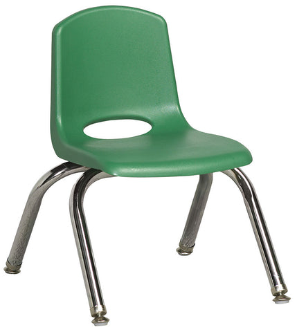 "ECR4Kids ELR-0192-GNG 10"" Stack Chair - Chrome Legs - GNG - Set of 6 - Peazz.com"