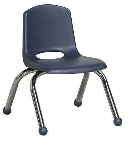 "ECR4Kids ELR-0192-NV 10"" Stack Chair - Chrome Legs - NV - Set of 6 - Peazz.com"
