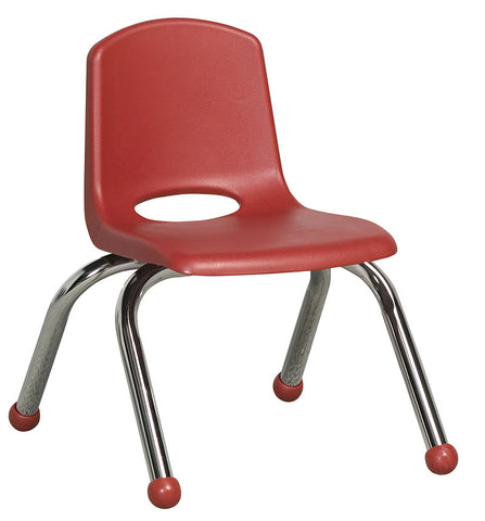 "ECR4Kids ELR-0192-RD 10"" Stack Chair - Chrome Legs - RD - Set of 6 - Peazz.com"
