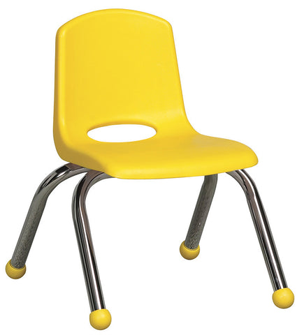 "ECR4Kids ELR-0192-YE 10"" Stack Chair - Chrome Legs - YE - Set of 6 - Peazz.com"