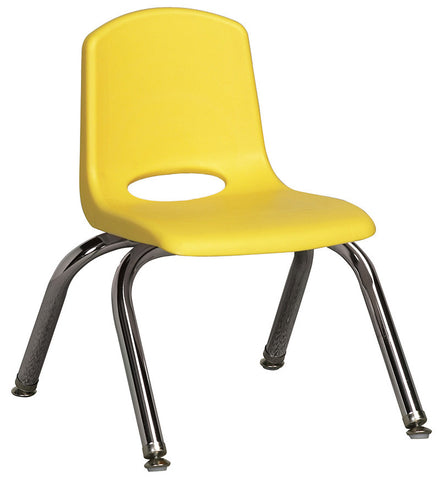 "ECR4Kids ELR-0192-YEG 10"" Stack Chair - Chrome Legs - YEG - Set of 6 - Peazz.com"