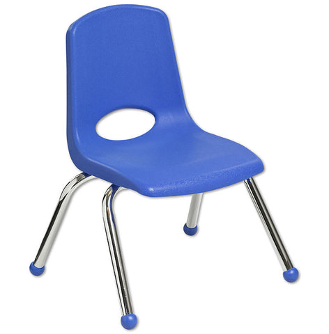 "ECR4Kids ELR-0193-BL 12"" Stack Chair - Chrome Legs - BL - Set of 6 - Peazz.com"