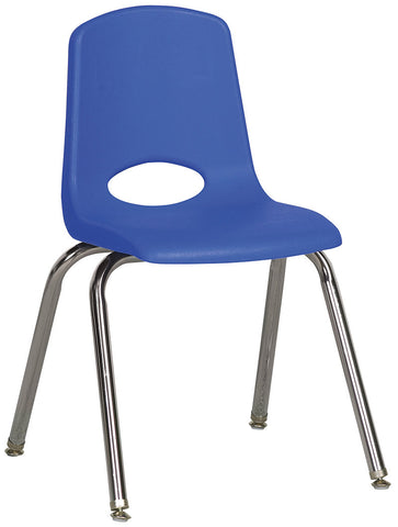 "ECR4Kids ELR-0195-BLG 16"" Stack Chair - Chrome Legs - BLG - Set of 6 - Peazz.com"