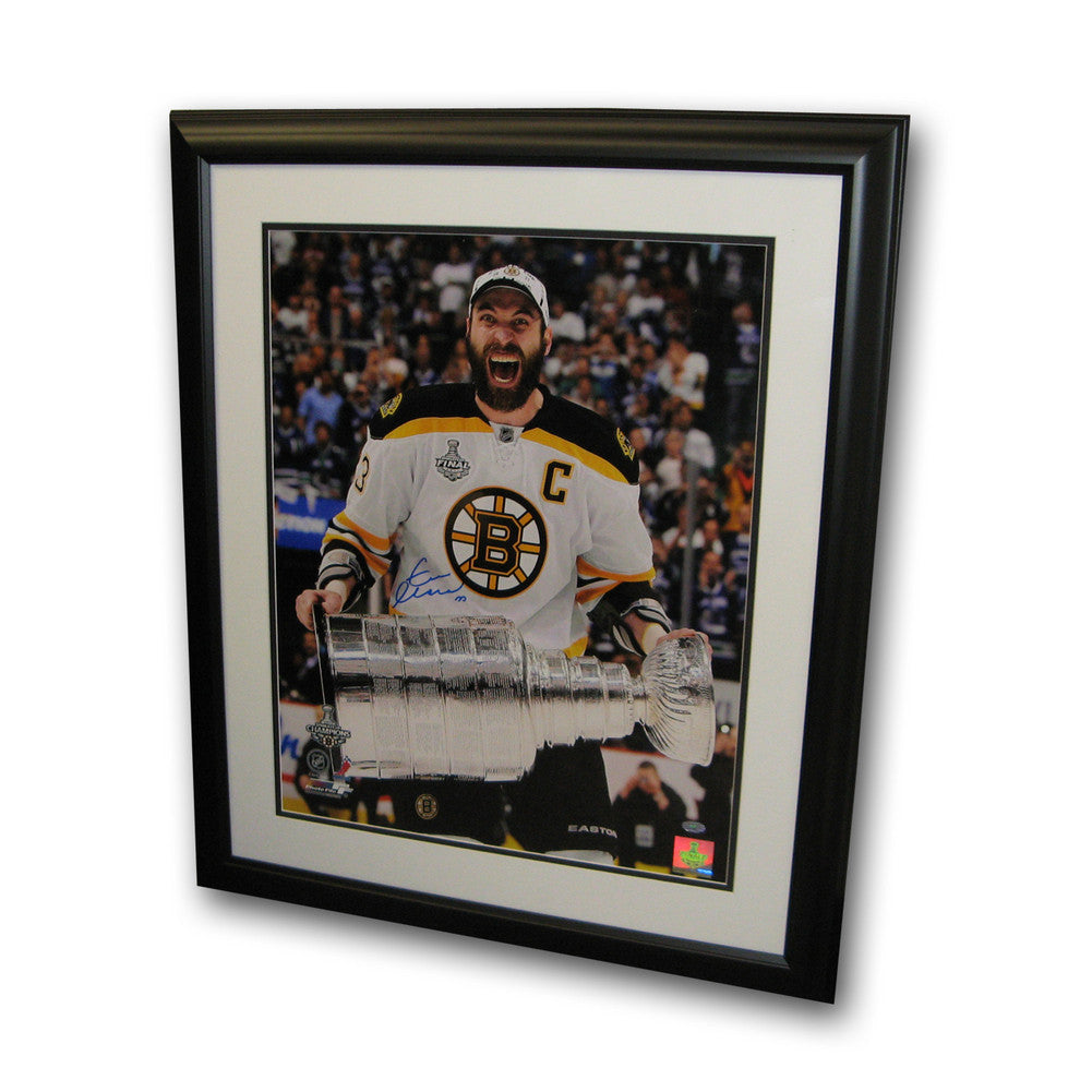 "Autographed Zdeno Chara 16-By-20 Inch Framed Photo ""Stanley Cup Scream"