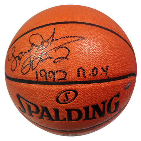 Autographed Larry Johnson Basketball inscribed 1992 ROY - Peazz.com