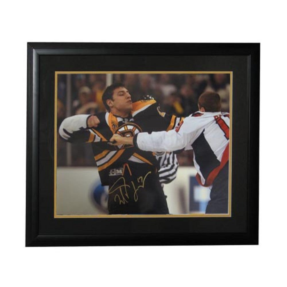 Autographed Milan Lucic Fight 16x20 Boston Bruins framed